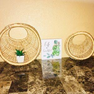 Hanging Vintage Wicker Baskets